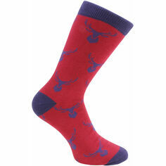Pair of Red & Blue Stag Socks - Combed Cotton