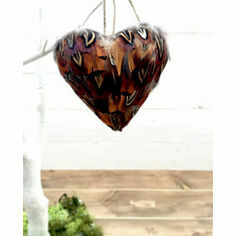 Pheasant Feather Hanging Heart