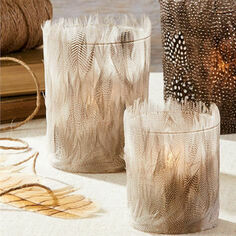 Duck Feather Tealight Candle Holders - Set of 2
