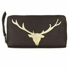Stag Leather Cut Out Purse - Brown