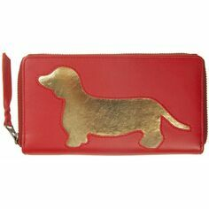 Dachshund Leather Cut Out Purse - Lipstick Red