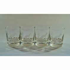 Set of 4 Matching Fox Glass Tumblers