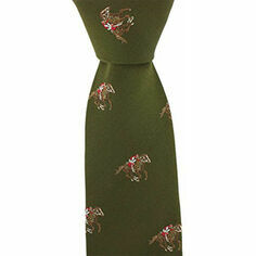 Green Horse Racing Woven Silk Tie