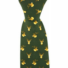Green Silk Country Tie with Stag Head Design