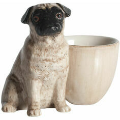 Fawn Pug with Egg Cup