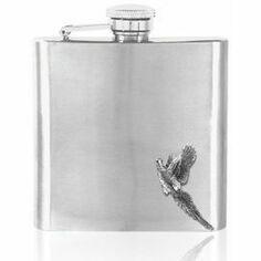 6oz Stainless Steel Flying Pheasant Hip Flask