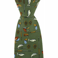 Green Fly Fishing Design Silk Country Tie