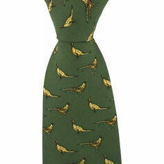 Green Silk Country Tie With Small Pheasant Design