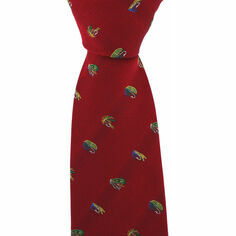 Red Luxury Silk Tie With Fly Fishing Hook Design