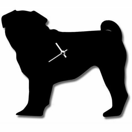 Black Pug Wall Clock With Wagging Tail