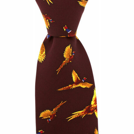 Wine Red Pheasant Silk Country Tie
