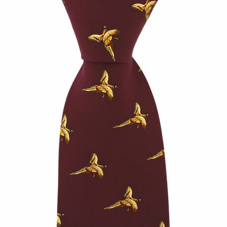 Wine Red Silk Country Tie With Small Flying Pheasant Design