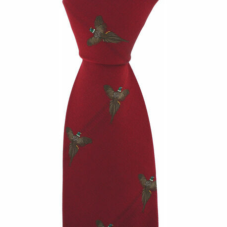 Red Flying Pheasant Luxury Woven Silk Tie